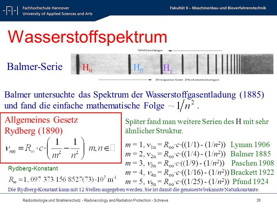 Radioökologie und Strahlenschutz - Radioecology and Radiation Protection - Schrewe 39 Wasserstoffspektrum H H H Balmer-Serie Balmer untersuchte das Spektrum der Wasserstoffgasentladung (1885) und fand die einfache mathematische Folge.