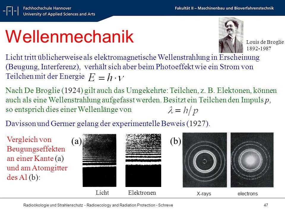 Radioökologie und Strahlenschutz - Radioecology and Radiation Protection - Schrewe 47 Wellenmechanik Louis de Broglie 1892-1987 Licht tritt üblicherweise als elektromagnetische Wellenstrahlung in Erscheinung (Beugung, Interferenz), verhält sich aber beim Photoeffekt wie ein Strom von Teilchen mit der Energie Nach De Broglie (1924) gilt auch das Umgekehrte: Teilchen, z.