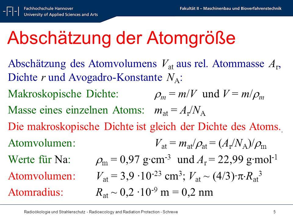 Radioökologie und Strahlenschutz - Radioecology and Radiation Protection - Schrewe 5 Abschätzung der Atomgröße Abschätzung des Atomvolumens V at aus rel.