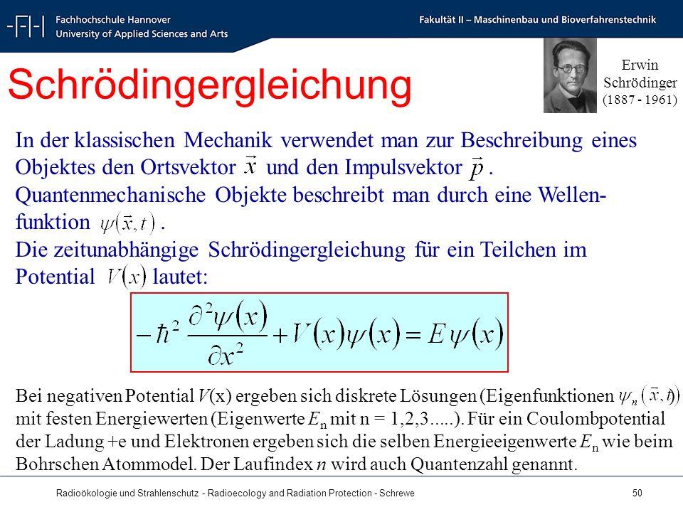 Radioökologie und Strahlenschutz - Radioecology and Radiation Protection - Schrewe 50 In der klassischen Mechanik verwendet man zur Beschreibung eines Objektes den Ortsvektor und den Impulsvektor.