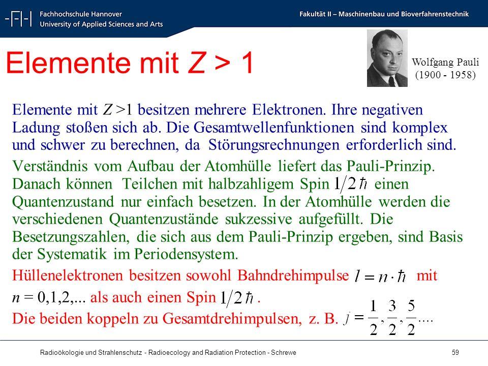 Radioökologie und Strahlenschutz - Radioecology and Radiation Protection - Schrewe 59 Elemente mit Z > 1 Elemente mit Z >1 besitzen mehrere Elektronen.