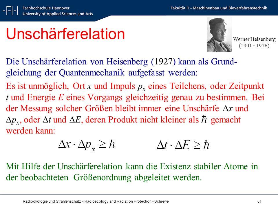 Radioökologie und Strahlenschutz - Radioecology and Radiation Protection - Schrewe 61 Unschärferelation Die Unschärferelation von Heisenberg (1927) kann als Grund- gleichung der Quantenmechanik aufgefasst werden: Es ist unmöglich, Ort x und Impuls p x eines Teilchens, oder Zeitpunkt t und Energie E eines Vorgangs gleichzeitig genau zu bestimmen.