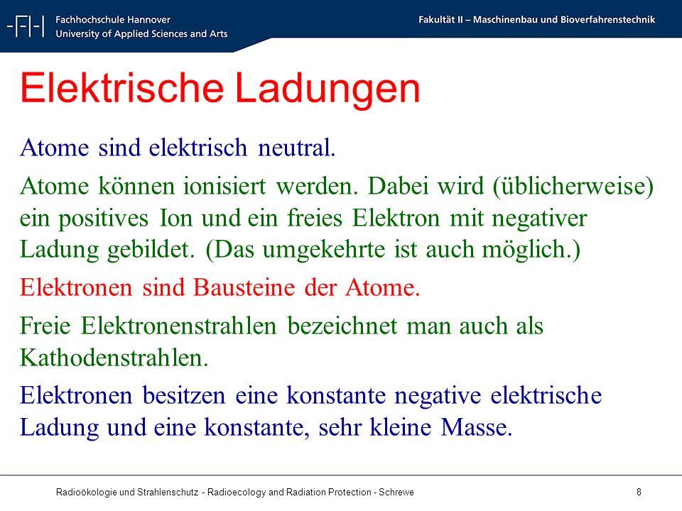 Radioökologie und Strahlenschutz - Radioecology and Radiation Protection - Schrewe 8 Elektrische Ladungen Atome sind elektrisch neutral.