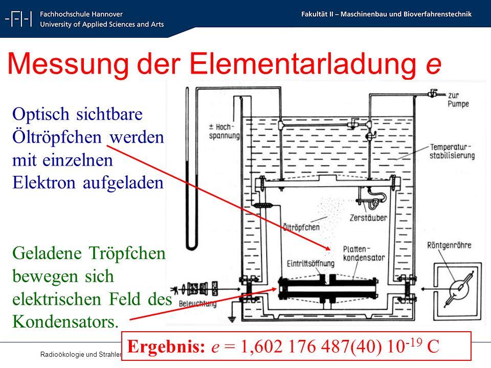 Radioökologie und Strahlenschutz - Radioecology and Radiation Protection - Schrewe 9 Messung der Elementarladung e Optisch sichtbare Öltröpfchen werden mit einzelnen Elektron aufgeladen.