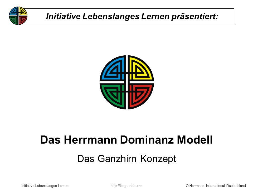 © Herrmann International Deutschland Initiative Lebenslanges Lernenhttp://lernportal.com Das Herrmann Dominanz Modell Das Ganzhirn Konzept Initiative Lebenslanges Lernen präsentiert: