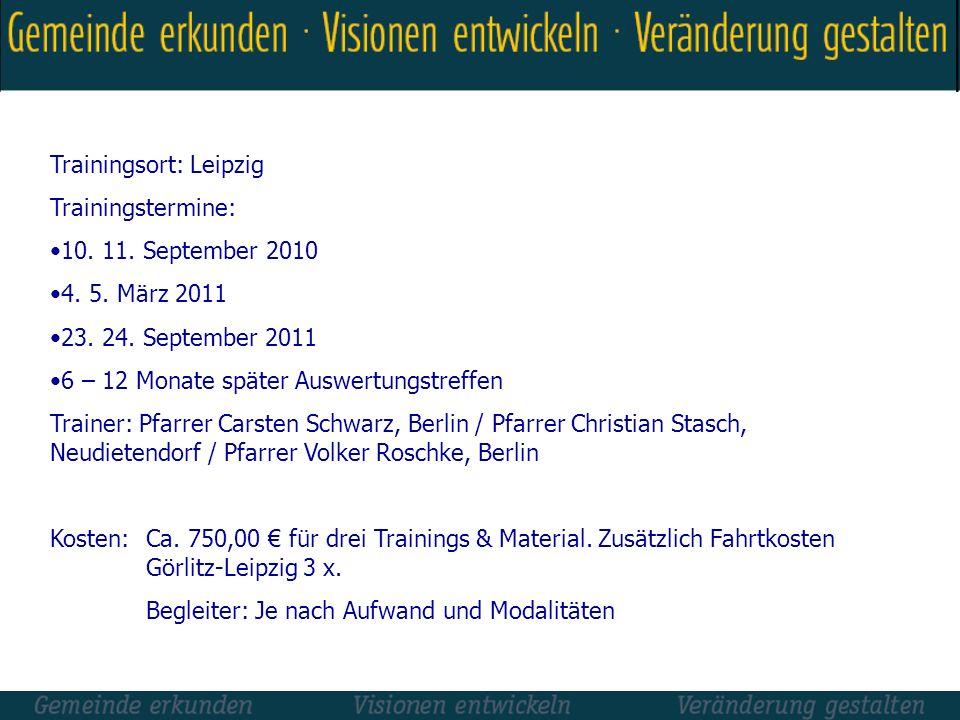 Trainingsort: Leipzig Trainingstermine: 10. 11. September 2010 4. 5. März 2011 23. 24. September 2011 6 – 12 Monate später Auswertungstreffen Trainer: