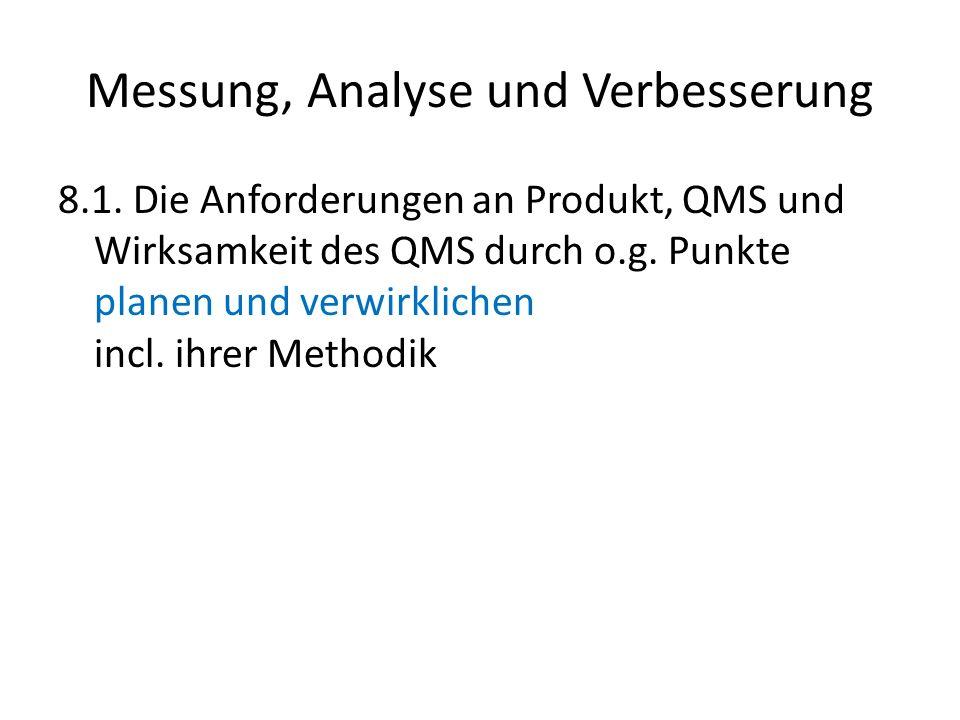 Messung, Analyse und Verbesserung 8.1. Die Anforderungen an Produkt, QMS und Wirksamkeit des QMS durch o.g. Punkte planen und verwirklichen incl. ihre