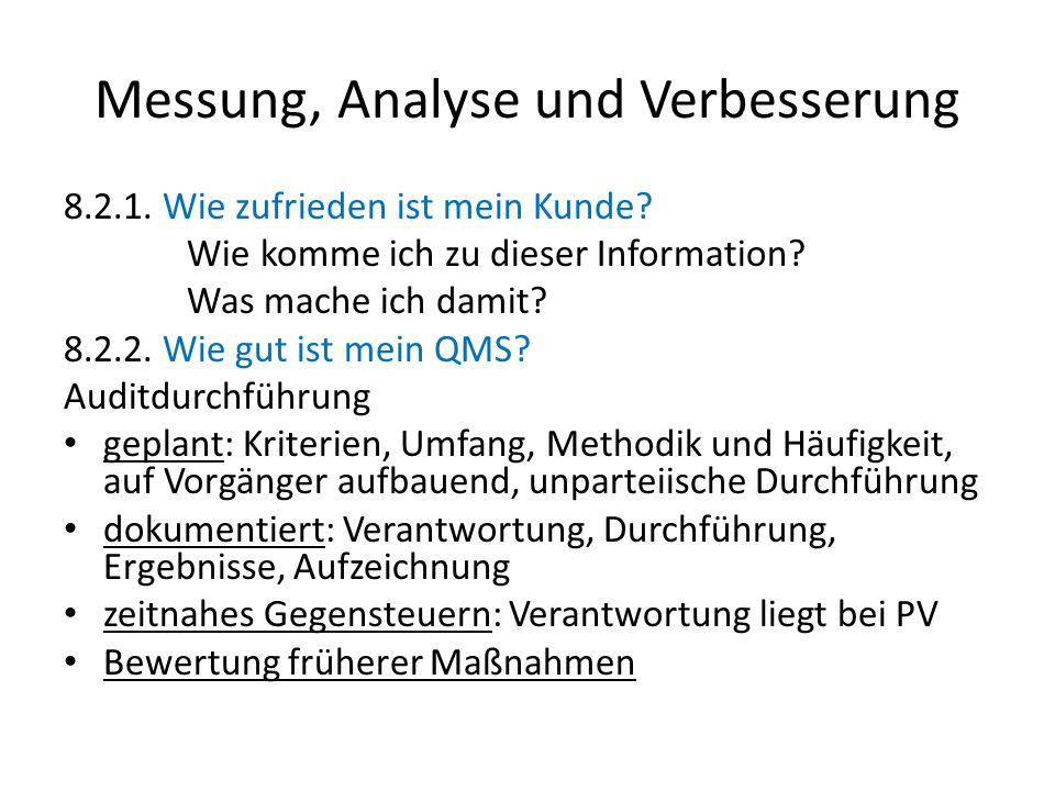 Messung, Analyse und Verbesserung 8.2.1. Wie zufrieden ist mein Kunde? Wie komme ich zu dieser Information? Was mache ich damit? 8.2.2. Wie gut ist me