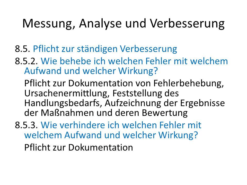 Messung, Analyse und Verbesserung 8.5. Pflicht zur ständigen Verbesserung 8.5.2. Wie behebe ich welchen Fehler mit welchem Aufwand und welcher Wirkung