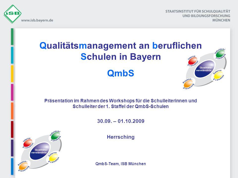 Qualitätsmanagement an beruflichen Schulen in Bayern QmbS Präsentation im Rahmen des Workshops für die Schulleiterinnen und Schulleiter der 1. Staffel