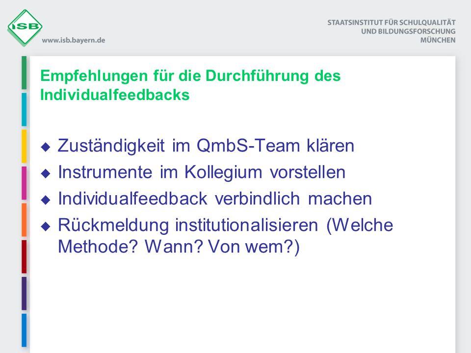 Empfehlungen für die Durchführung des Individualfeedbacks Zuständigkeit im QmbS-Team klären Instrumente im Kollegium vorstellen Individualfeedback ver