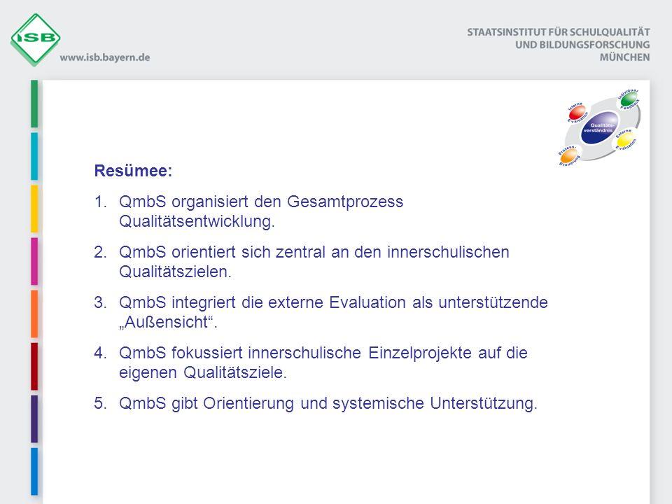 Resümee: 1.QmbS organisiert den Gesamtprozess Qualitätsentwicklung. 2.QmbS orientiert sich zentral an den innerschulischen Qualitätszielen. 3.QmbS int
