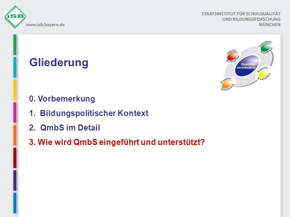 Gliederung 0. Vorbemerkung 1.Bildungspolitischer Kontext 2. QmbS im Detail 3. Wie wird QmbS eingeführt und unterstützt?