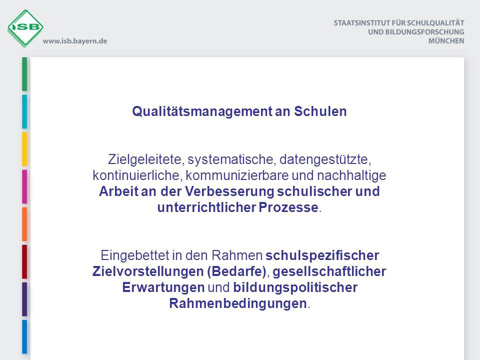 Qualitätsmanagement an Schulen Zielgeleitete, systematische, datengestützte, kontinuierliche, kommunizierbare und nachhaltige Arbeit an der Verbesseru