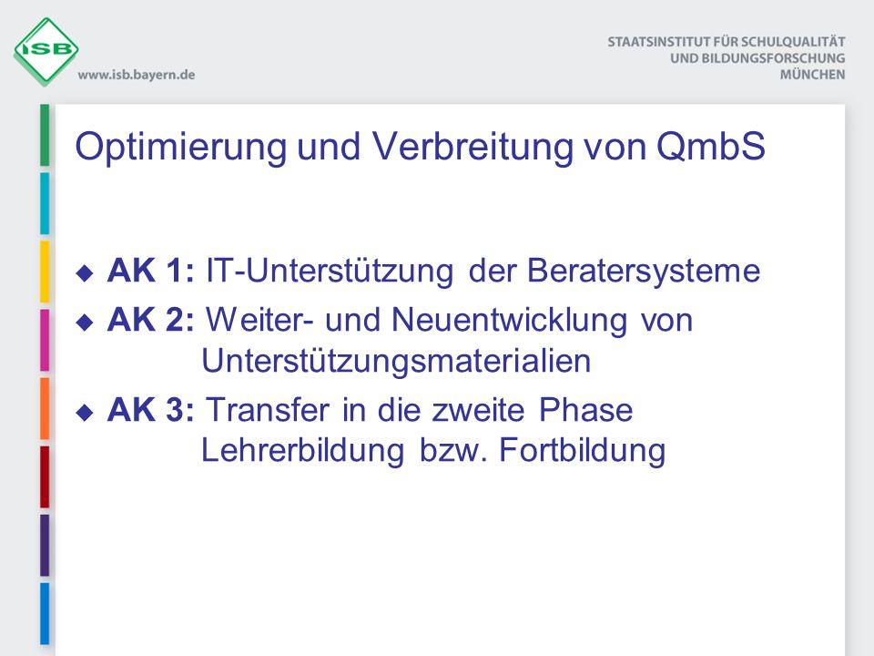 Optimierung und Verbreitung von QmbS AK 1: IT-Unterstützung der Beratersysteme AK 2: Weiter- und Neuentwicklung von Unterstützungsmaterialien AK 3: Tr