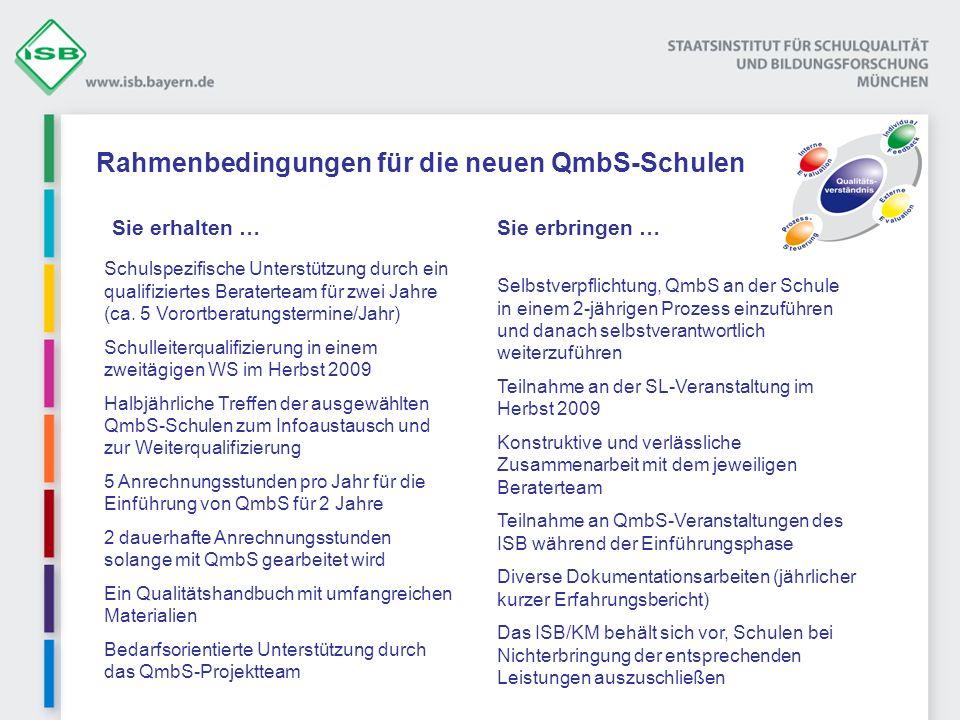 Rahmenbedingungen für die neuen QmbS-Schulen Selbstverpflichtung, QmbS an der Schule in einem 2-jährigen Prozess einzuführen und danach selbstverantwo
