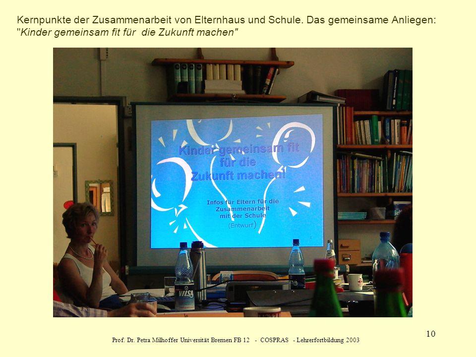 Prof. Dr. Petra Milhoffer Universität Bremen FB 12 - COSPRAS - Lehrerfortbildung 2003 10 Kernpunkte der Zusammenarbeit von Elternhaus und Schule. Das