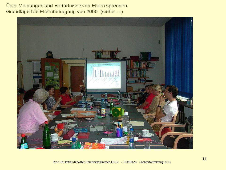 Prof. Dr. Petra Milhoffer Universität Bremen FB 12 - COSPRAS - Lehrerfortbildung 2003 11 Über Meinungen und Bedürfnisse von Eltern sprechen. Grundlage