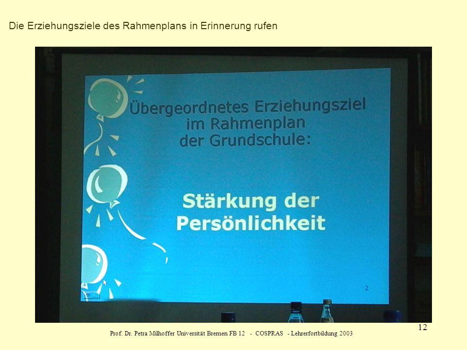 Prof. Dr. Petra Milhoffer Universität Bremen FB 12 - COSPRAS - Lehrerfortbildung 2003 12 Die Erziehungsziele des Rahmenplans in Erinnerung rufen