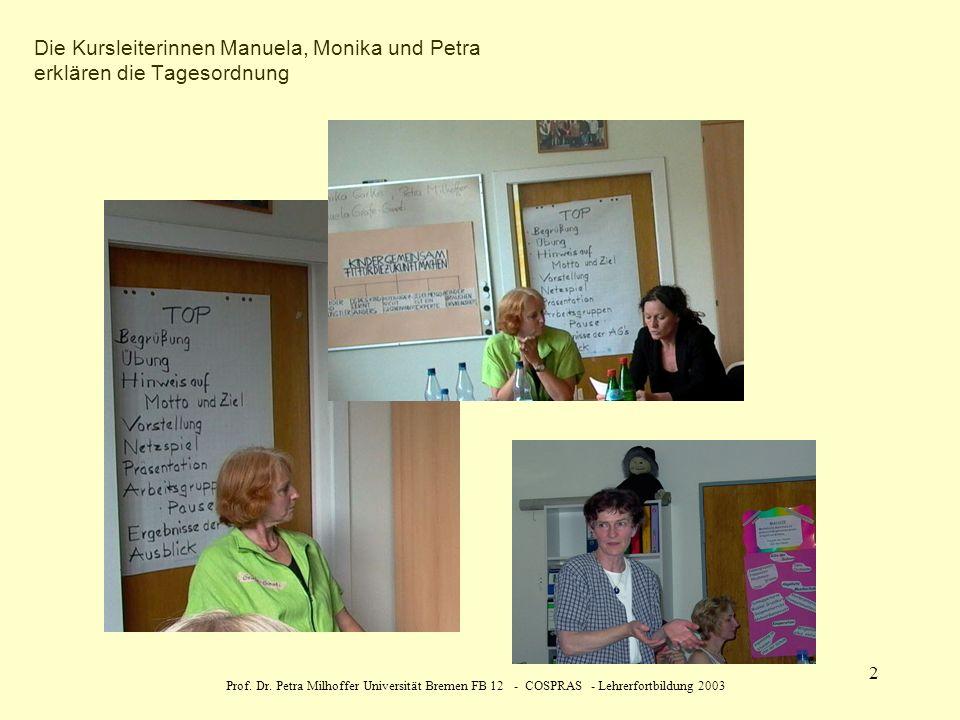 Prof. Dr. Petra Milhoffer Universität Bremen FB 12 - COSPRAS - Lehrerfortbildung 2003 2 Die Kursleiterinnen Manuela, Monika und Petra erklären die Tag