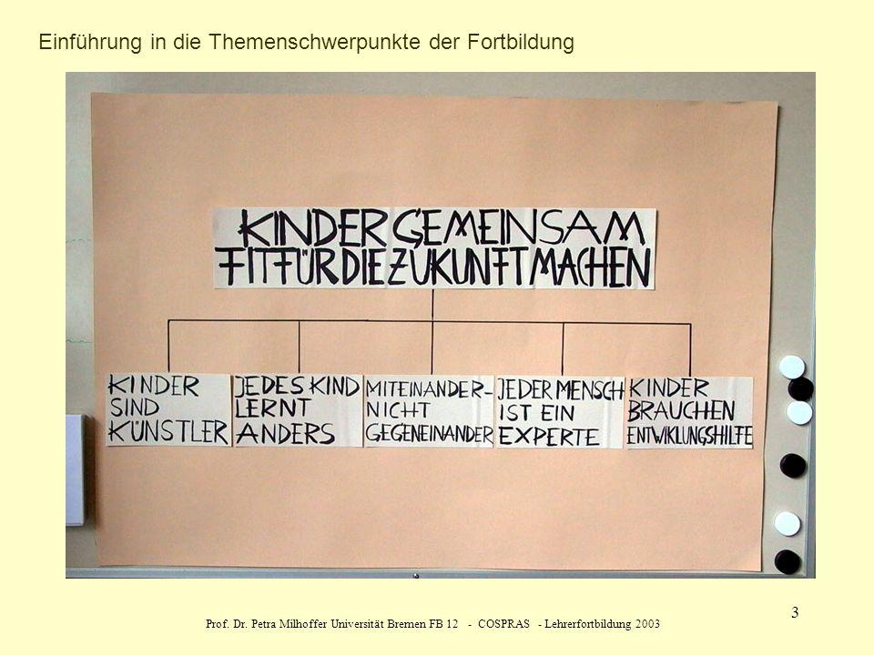 Prof. Dr. Petra Milhoffer Universität Bremen FB 12 - COSPRAS - Lehrerfortbildung 2003 3 Einführung in die Themenschwerpunkte der Fortbildung