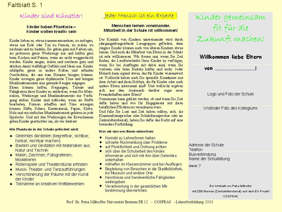 Prof. Dr. Petra Milhoffer Universität Bremen FB 12 - COSPRAS - Lehrerfortbildung 2003 4 Faltblatt S. 1