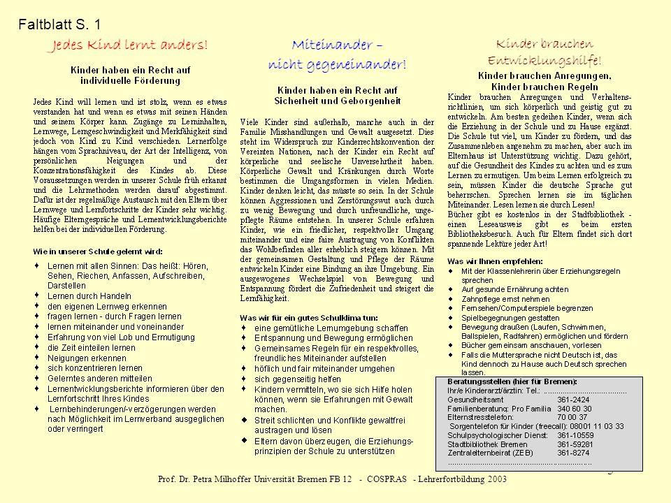 Prof. Dr. Petra Milhoffer Universität Bremen FB 12 - COSPRAS - Lehrerfortbildung 2003 5 Faltblatt S. 1