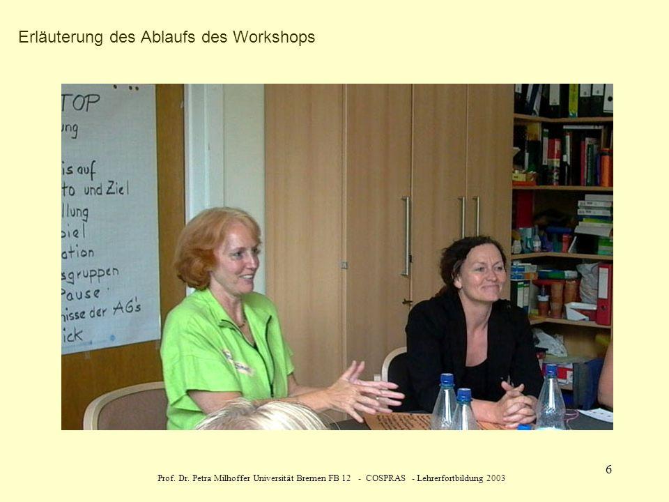 Prof. Dr. Petra Milhoffer Universität Bremen FB 12 - COSPRAS - Lehrerfortbildung 2003 6 Erläuterung des Ablaufs des Workshops