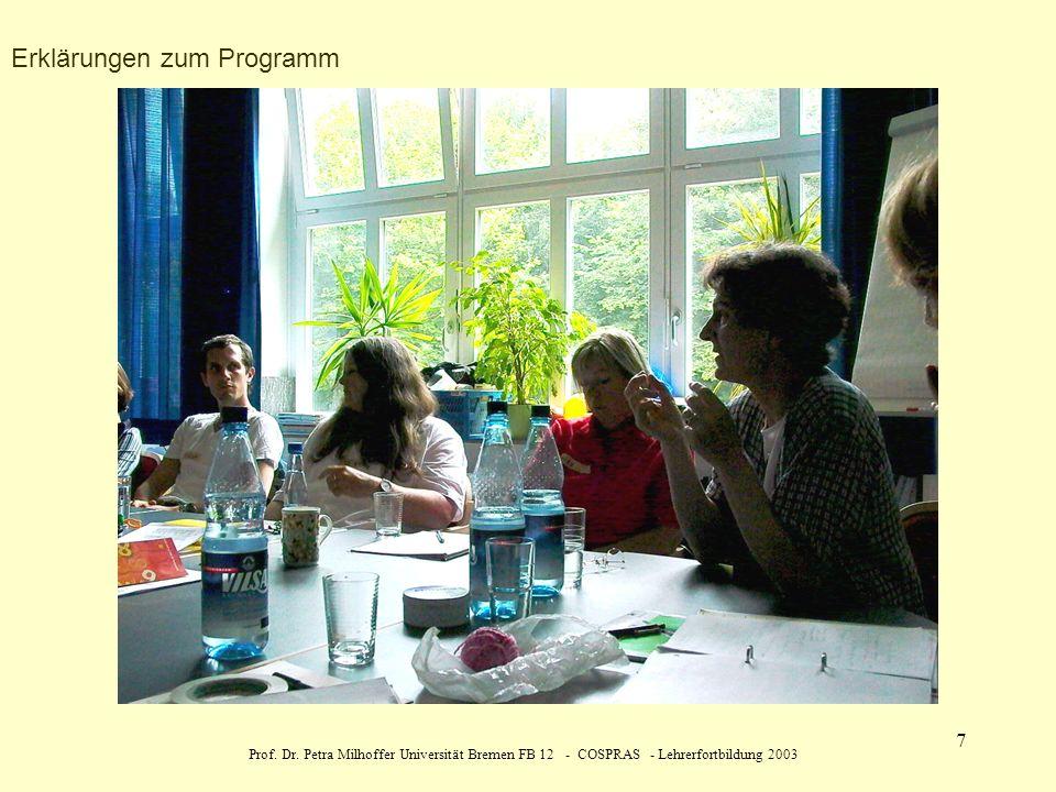 Prof. Dr. Petra Milhoffer Universität Bremen FB 12 - COSPRAS - Lehrerfortbildung 2003 7 Erklärungen zum Programm