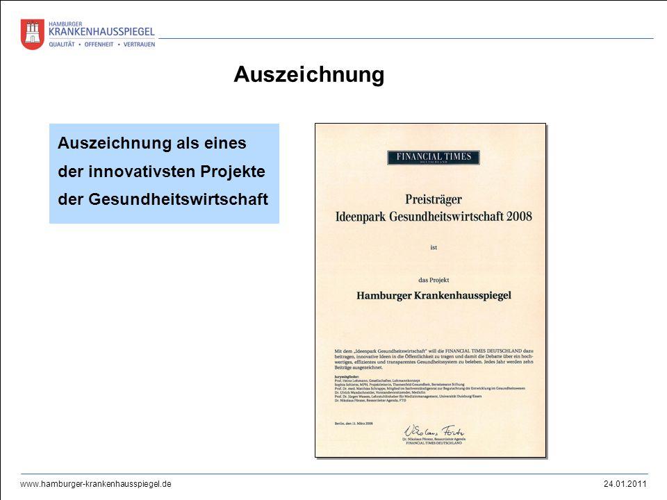 24.01.2011 www.hamburger-krankenhausspiegel.de Auszeichnung als eines der innovativsten Projekte der Gesundheitswirtschaft Auszeichnung