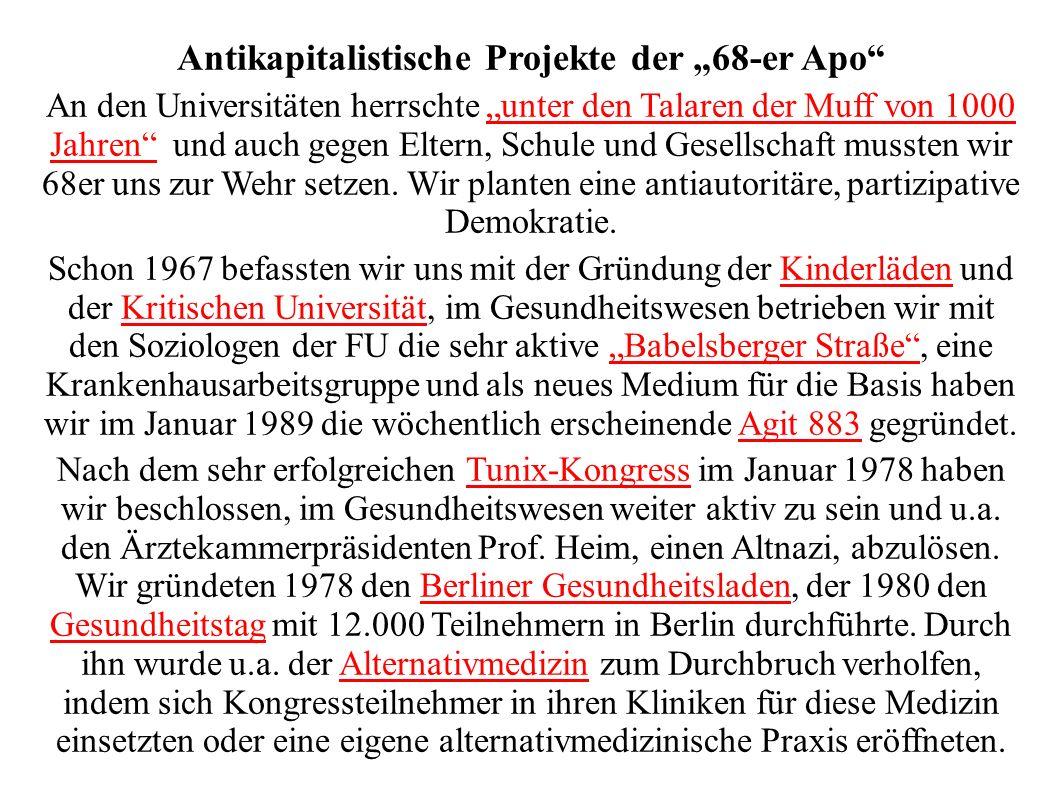 Antikapitalistische Projekte der 68-er Apo An den Universitäten herrschte unter den Talaren der Muff von 1000 Jahren und auch gegen Eltern, Schule und