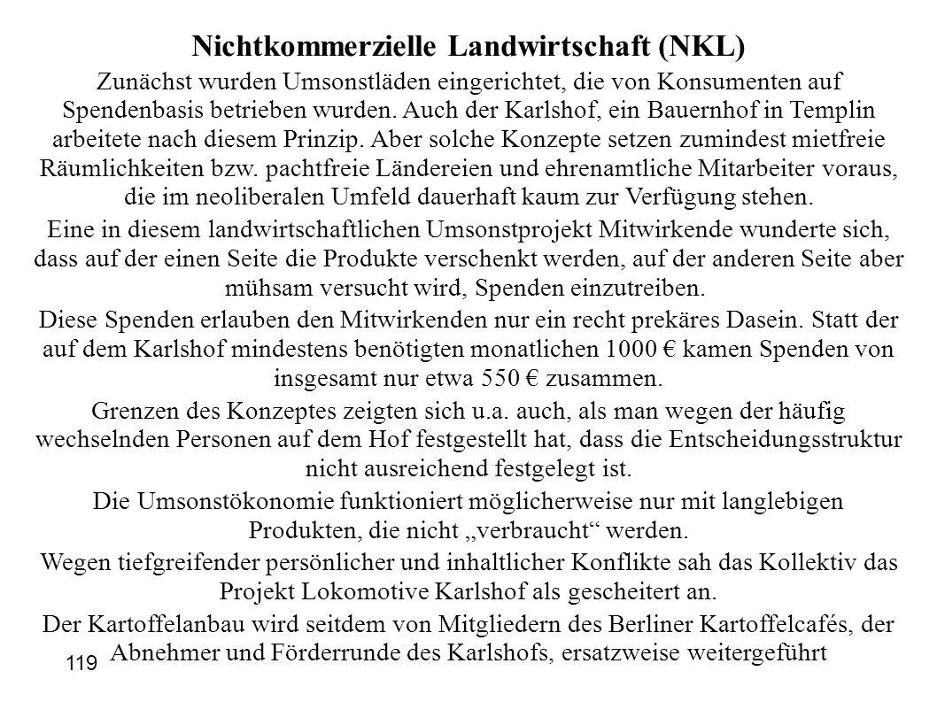 Nichtkommerzielle Landwirtschaft (NKL) Zunächst wurden Umsonstläden eingerichtet, die von Konsumenten auf Spendenbasis betrieben wurden. Auch der Karl