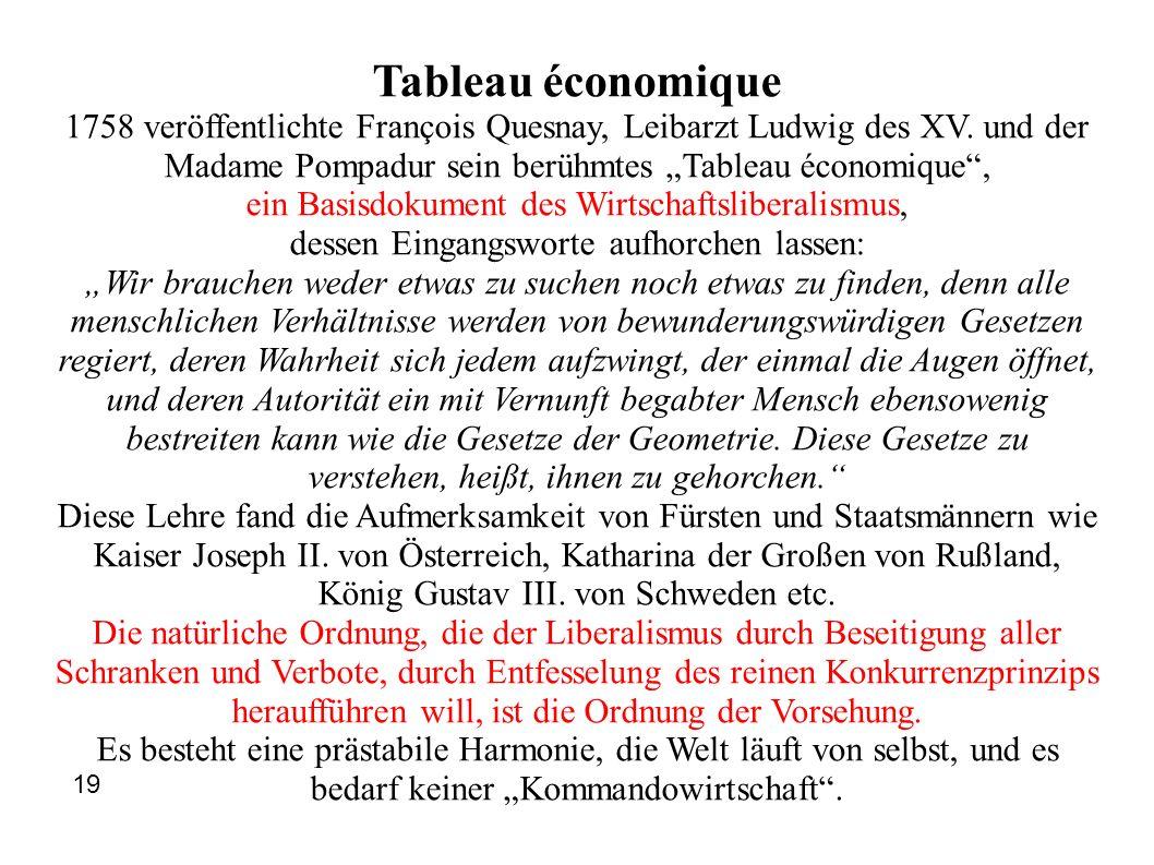 Tableau économique 1758 veröffentlichte François Quesnay, Leibarzt Ludwig des XV. und der Madame Pompadur sein berühmtes Tableau économique, ein Basis