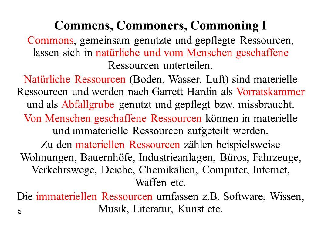 Commens, Commoners, Commoning I Commons, gemeinsam genutzte und gepflegte Ressourcen, lassen sich in natürliche und vom Menschen geschaffene Ressource