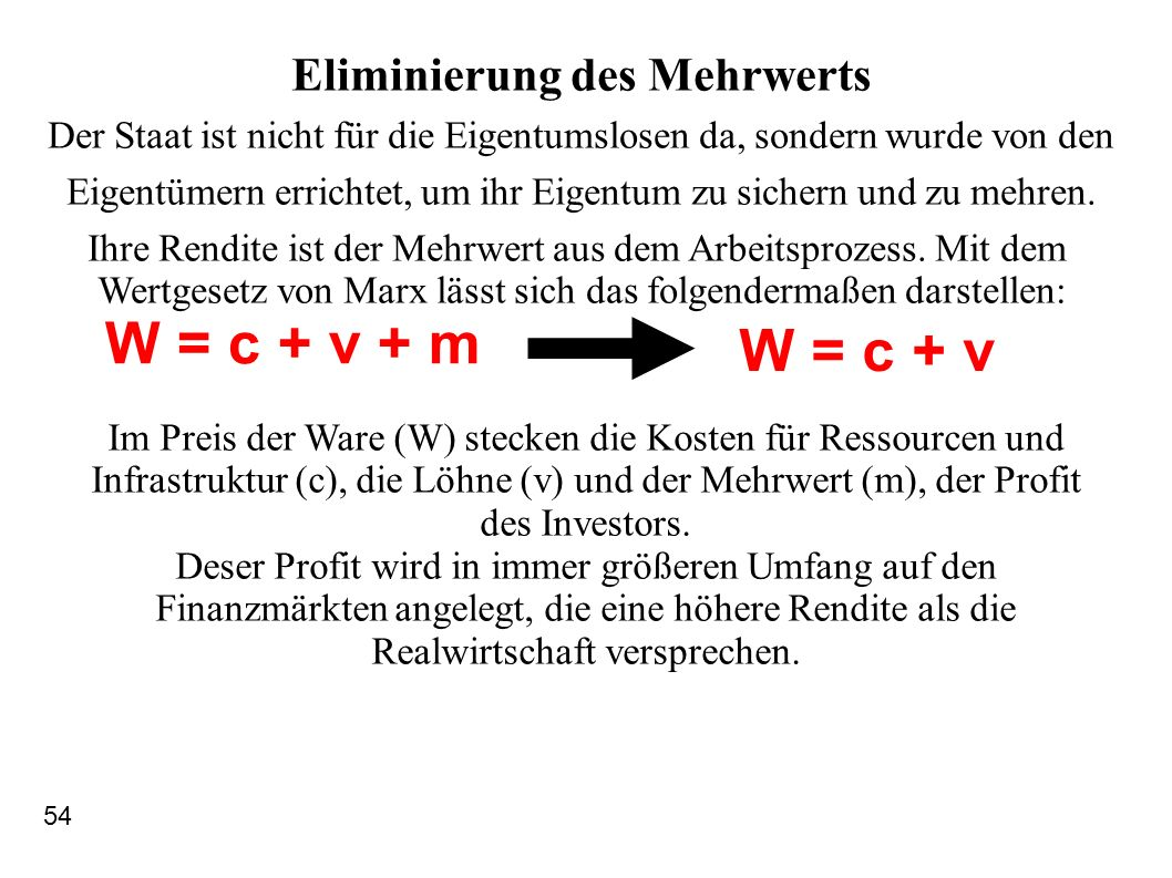W = c + v + m W = c + v Eliminierung des Mehrwerts Der Staat ist nicht für die Eigentumslosen da, sondern wurde von den Eigentümern errichtet, um ihr