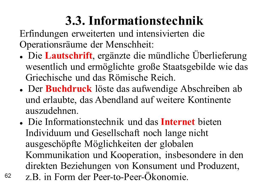 3.3. Informationstechnik Erfindungen erweiterten und intensivierten die Operationsräume der Menschheit: Die Lautschrift, ergänzte die mündliche Überli