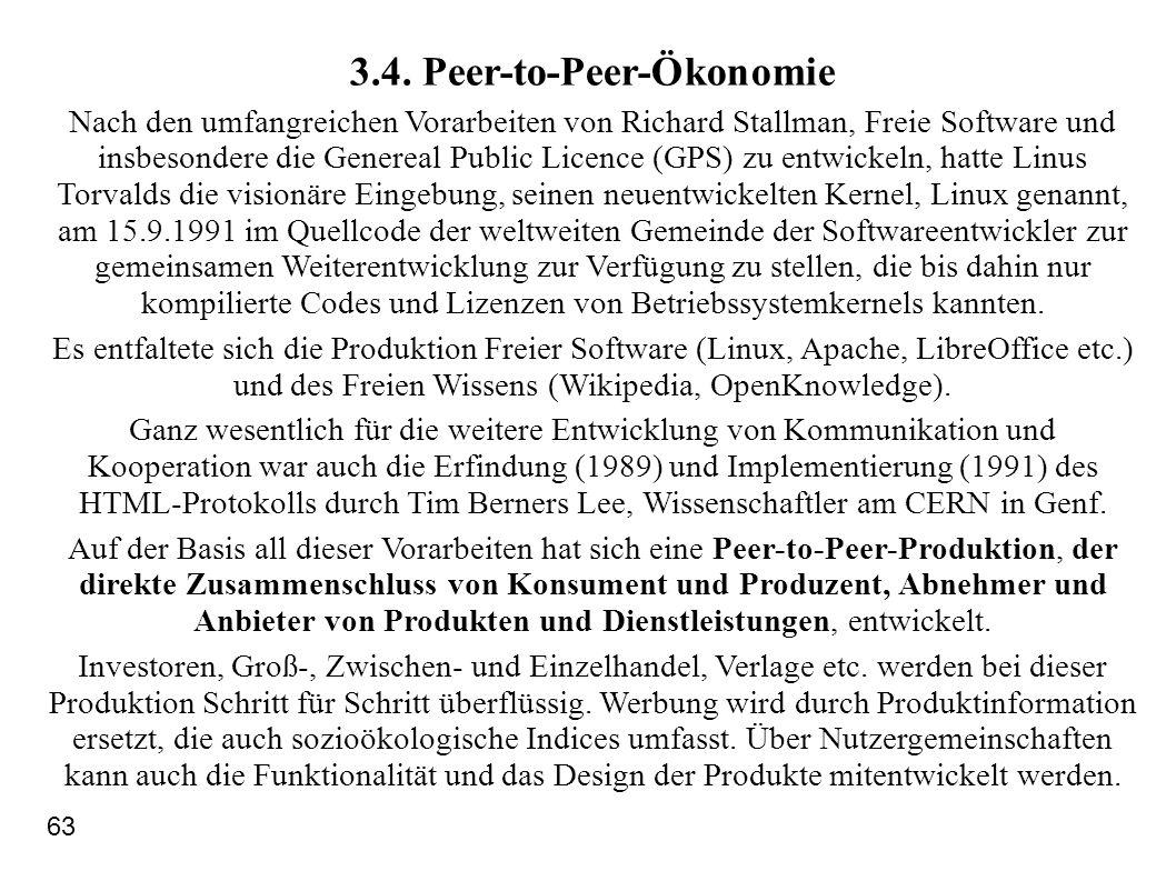 3.4. Peer-to-Peer-Ökonomie Nach den umfangreichen Vorarbeiten von Richard Stallman, Freie Software und insbesondere die Genereal Public Licence (GPS)