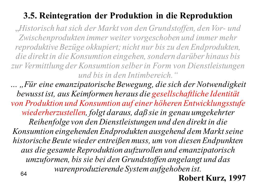 3.5. Reintegration der Produktion in die Reproduktion Historisch hat sich der Markt von den Grundstoffen, den Vor- und Zwischenprodukten immer weiter