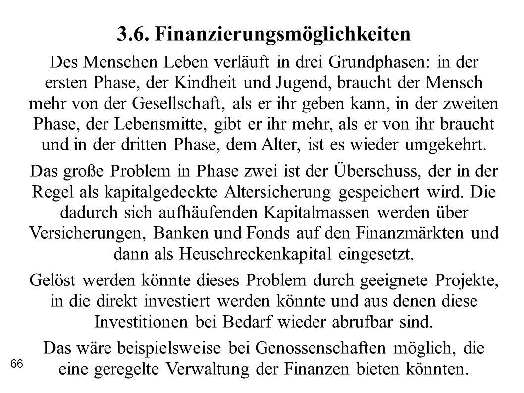 3.6. Finanzierungsmöglichkeiten Des Menschen Leben verläuft in drei Grundphasen: in der ersten Phase, der Kindheit und Jugend, braucht der Mensch mehr