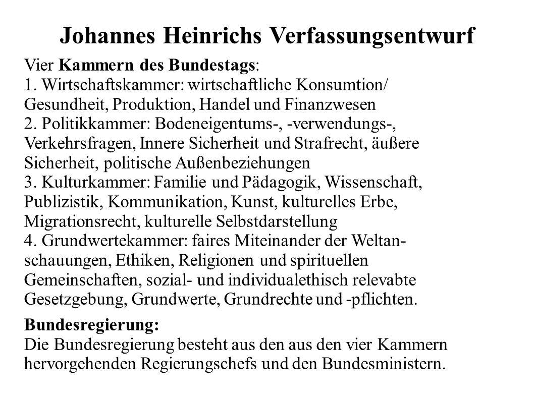 Johannes Heinrichs Verfassungsentwurf Vier Kammern des Bundestags: 1. Wirtschaftskammer: wirtschaftliche Konsumtion/ Gesundheit, Produktion, Handel un