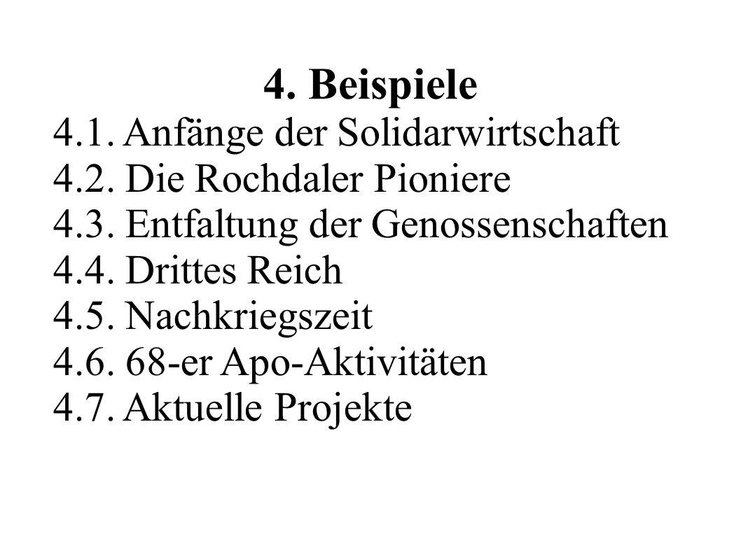 4. Beispiele 4.1. Anfänge der Solidarwirtschaft 4.2. Die Rochdaler Pioniere 4.3. Entfaltung der Genossenschaften 4.4. Drittes Reich 4.5. Nachkriegszei