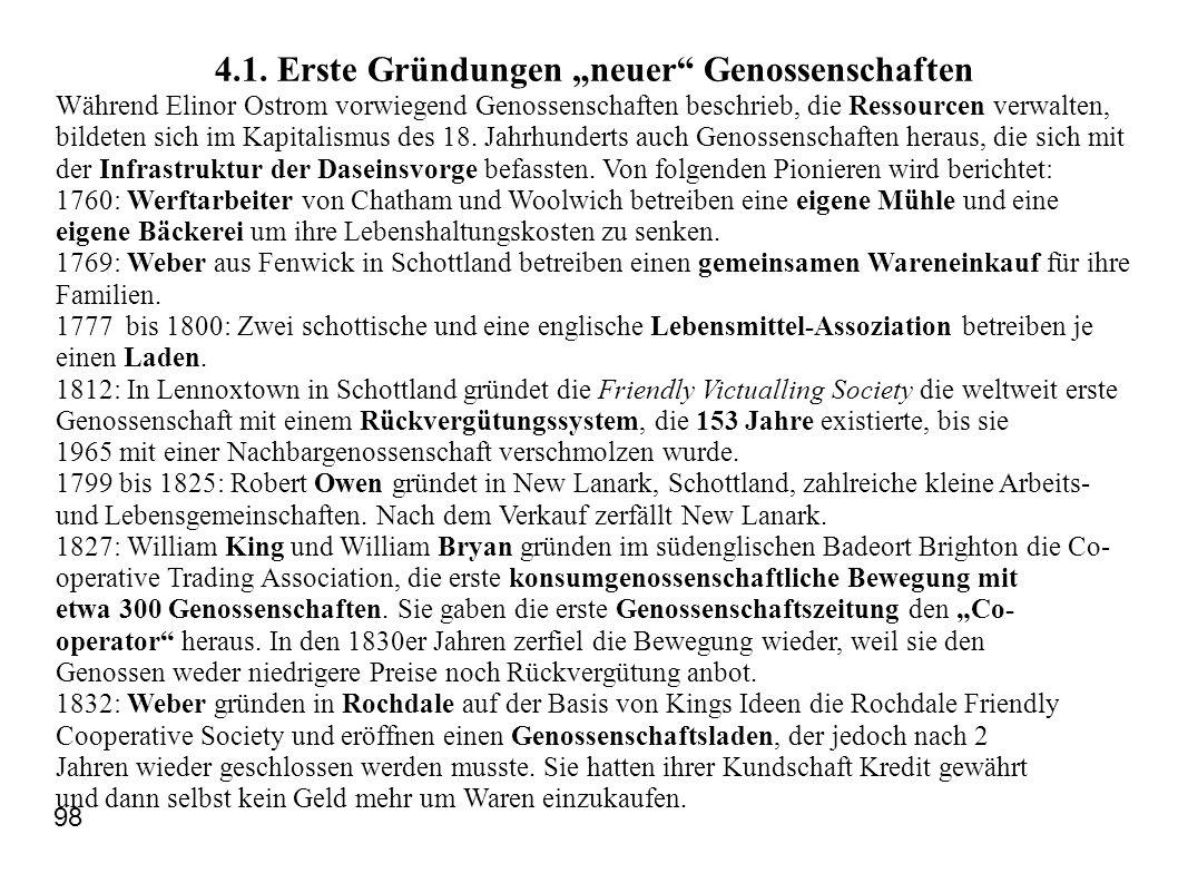 4.1. Erste Gründungen neuer Genossenschaften Während Elinor Ostrom vorwiegend Genossenschaften beschrieb, die Ressourcen verwalten, bildeten sich im K