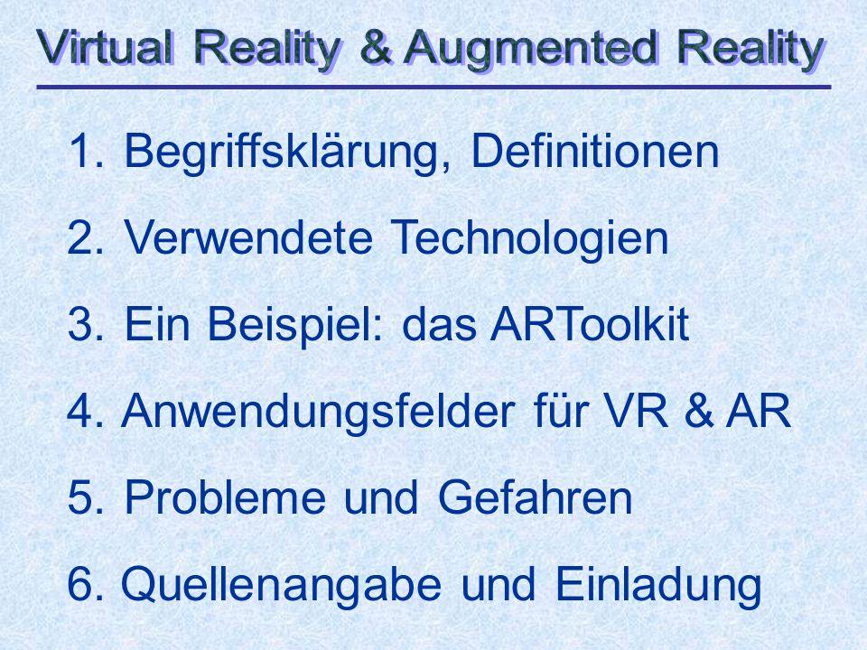 1.Begriffsklärung, Definitionen Virtual Reality (VR) ist......