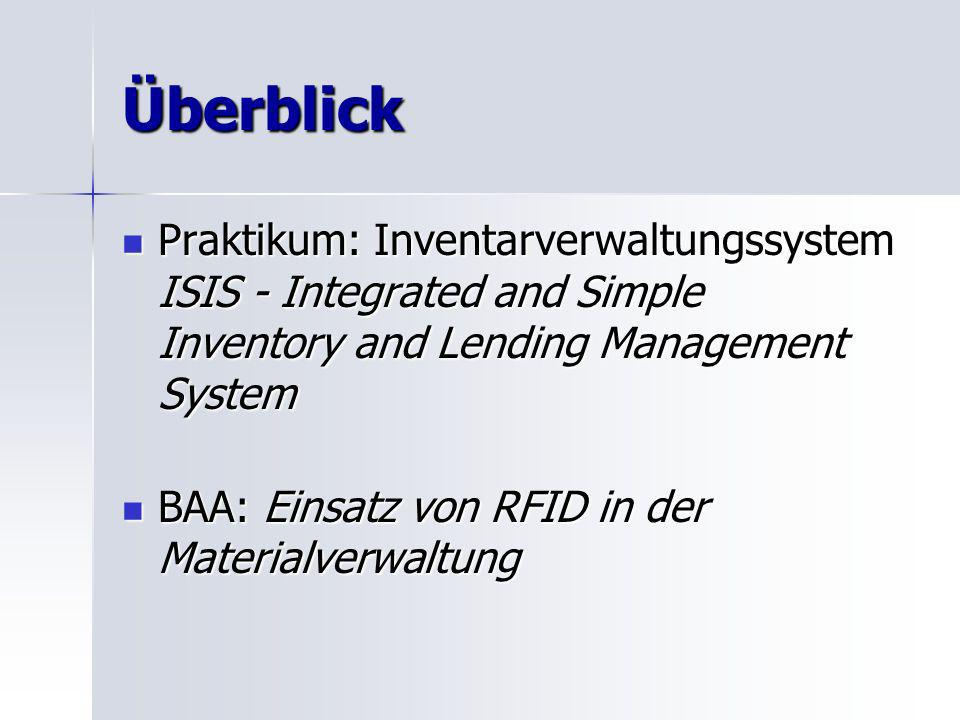 Überblick Praktikum: Inventarverwaltungssystem ISIS - Integrated and Simple Inventory and Lending Management System Praktikum: Inventarverwaltungssystem ISIS - Integrated and Simple Inventory and Lending Management System BAA: Einsatz von RFID in der Materialverwaltung BAA: Einsatz von RFID in der Materialverwaltung