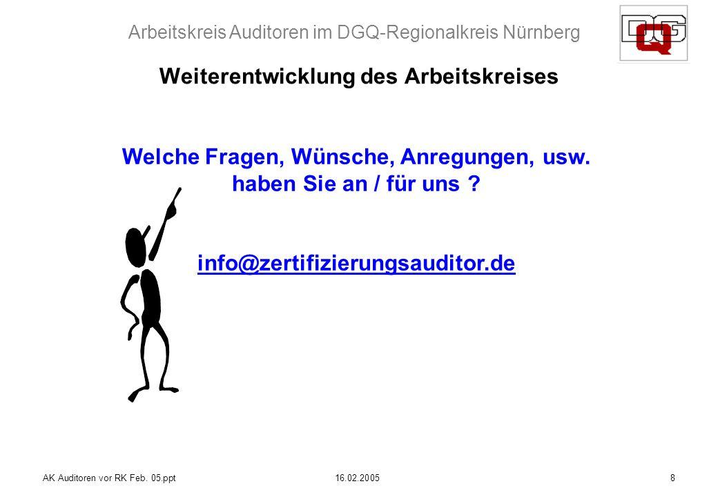 Arbeitskreis Auditoren im DGQ-Regionalkreis Nürnberg AK Auditoren vor RK Feb. 05.ppt16.02.20058 Weiterentwicklung des Arbeitskreises Welche Fragen, Wü