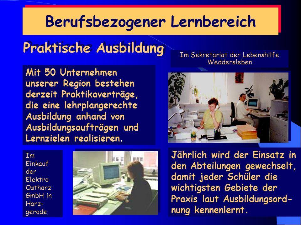 Berufsbezogener Lernbereich Wirtschaftspraxis Erkundung des Modellunternehmens Stellenbezogene Tätigkeiten im Modellunternehmen: Allgemeine Verwaltung