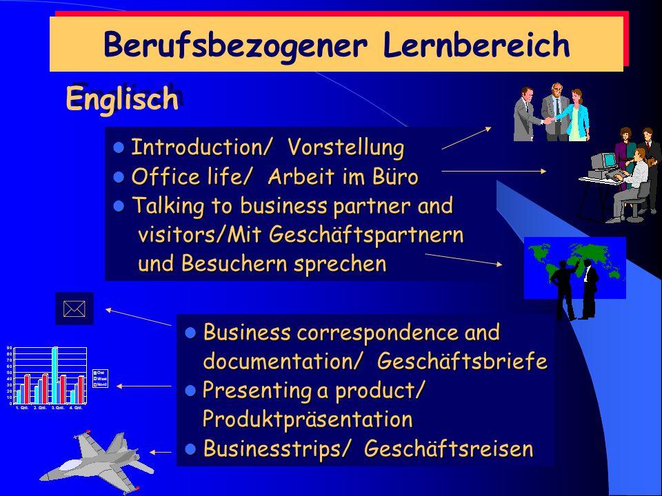 Allgemeiner Lernbereich Im Fach Deutsch stehen die Recht- schreibung und das gute Formulieren von Geschäftsbriefen im Vordergrund. Wirtschafts Wirtsch