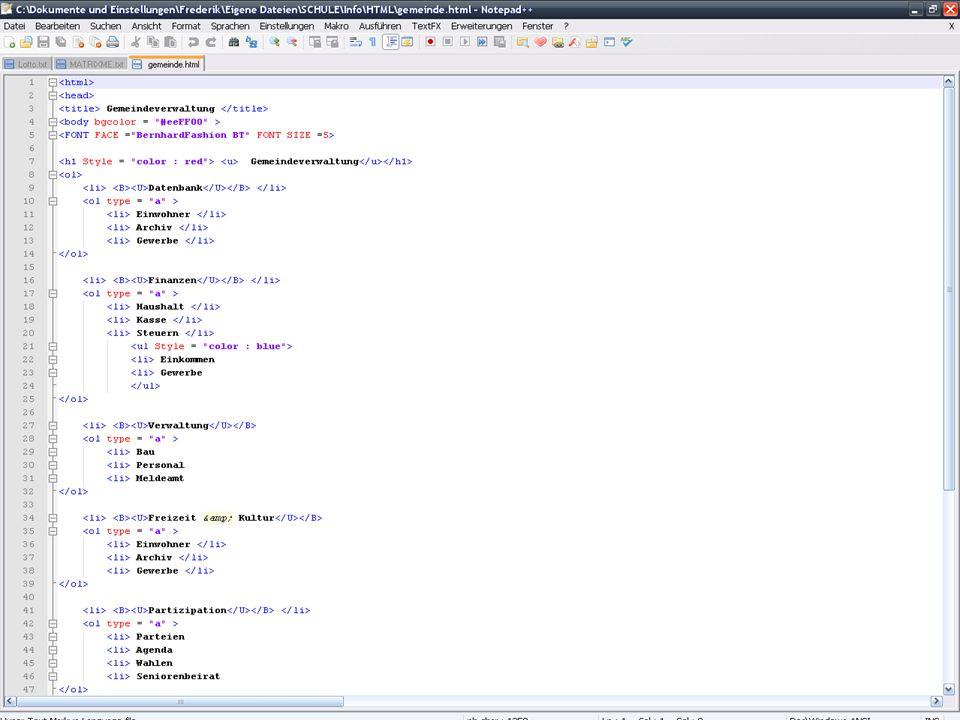 Syntaxhervorhebung (ohne Plugins!) ASP Ada Assemblersprache AutoIt Batch C C++ C# Caml CMake CSS Diff Fortran Flash Action-Script HTML Haskell Inno Java JavaScript KiXtart LISP Lua make MATLAB MS Ini-File MS-DOS-Style NSIS Scripte Objective-C Pascal Perl PHP PostScript Properties Python RC-Ressource- Dateien Ruby Scheme Shell Smalltalk SQL Tcl TeX Verilog VHDL VB/VBS- Quelldateien XML YAML Features