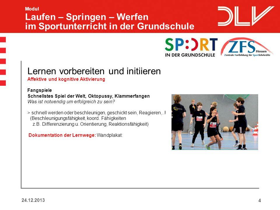 424.12.2013 Modul Laufen – Springen – Werfen im Sportunterricht in der Grundschule Lernen vorbereiten und initiieren Affektive und kognitive Aktivieru
