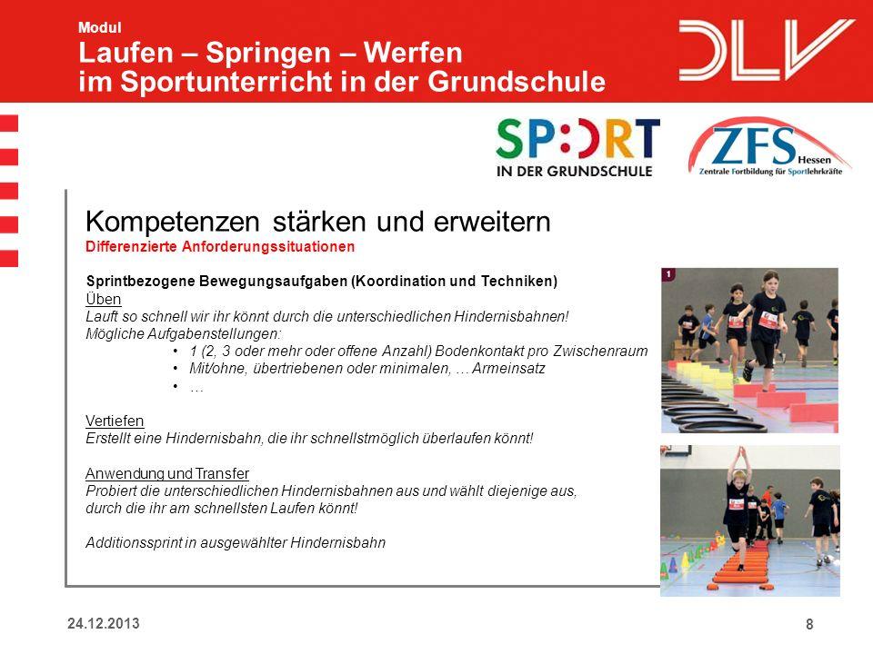 824.12.2013 Modul Laufen – Springen – Werfen im Sportunterricht in der Grundschule Kompetenzen stärken und erweitern Differenzierte Anforderungssituat